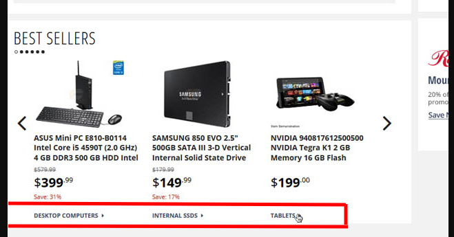 Example of linking to product category pages to improve UX