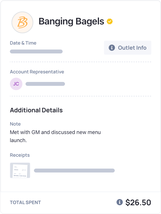 OrderEZ Dashboard Outlet Info