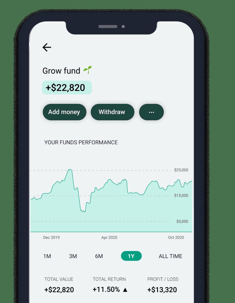screenshot of the grow fund screen