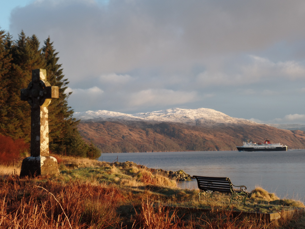Ferry moving up the Sound of Mull