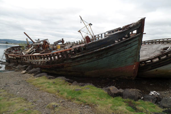 The much-photographed old fishing boats on the shore at Salen