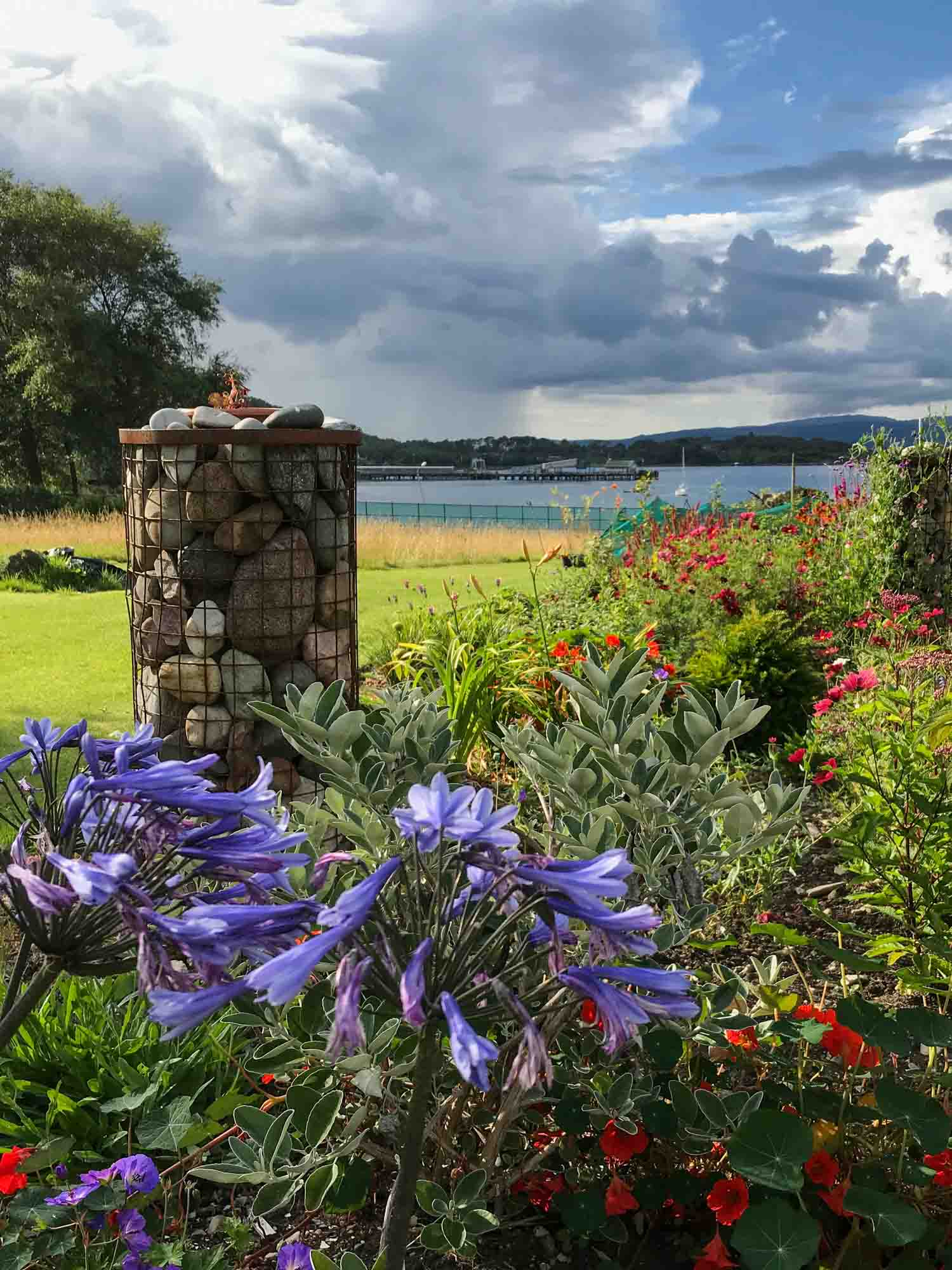 The developing gardens at Pennygate Lodge guesthouse at Craignure on Mull