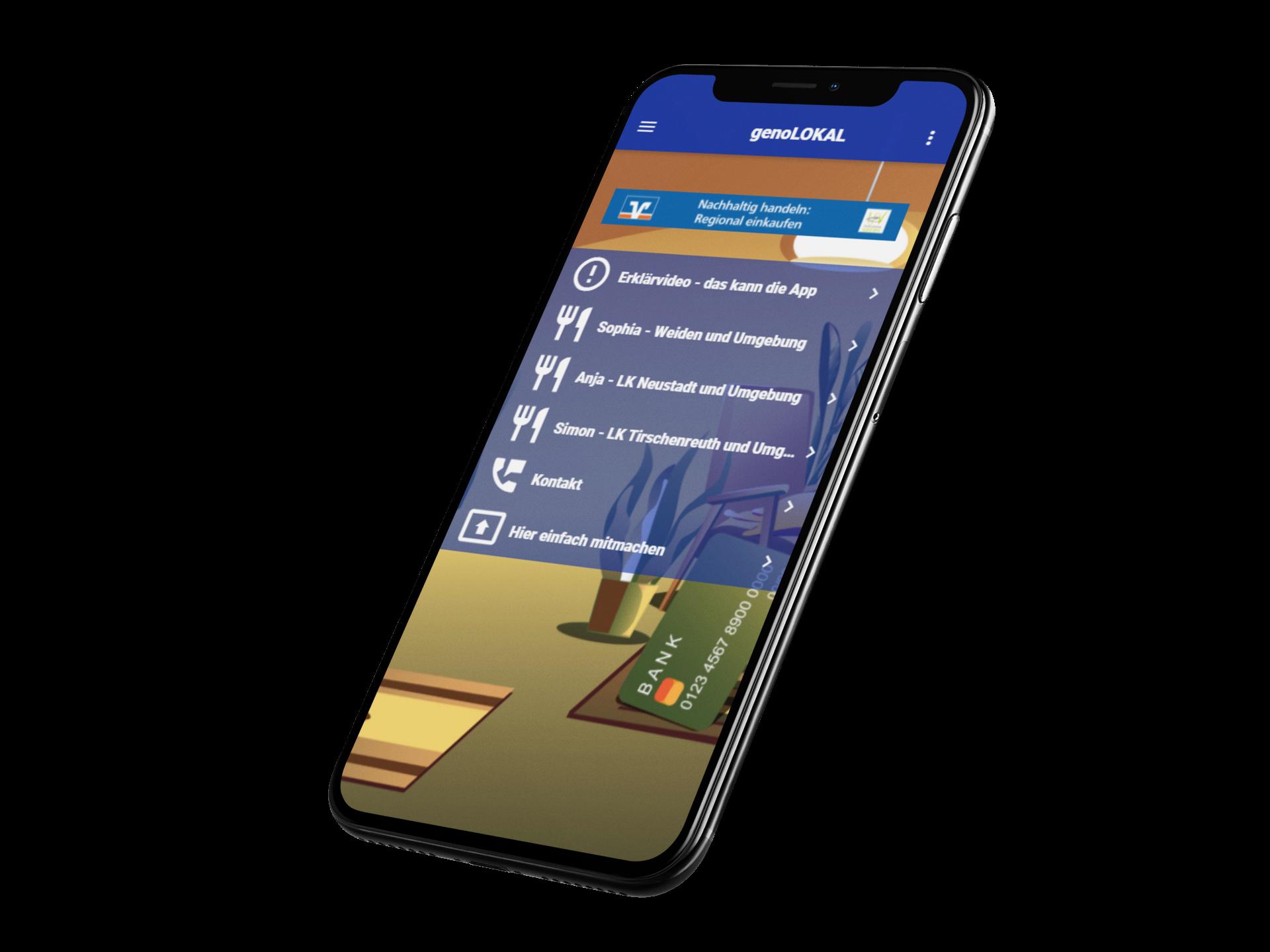 Smartphone mit der App Genolokal - ein Gemeinschaftsprojekt der VR Nordoberpfalz und IDA