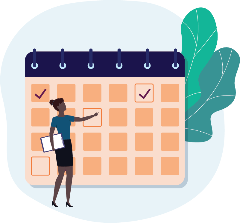 Calendar graphic, woman scheduling dates with property tax software