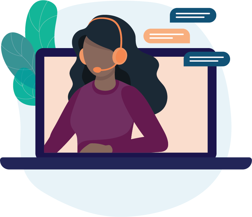Graphic of a woman giving live property tax customer support from a laptop