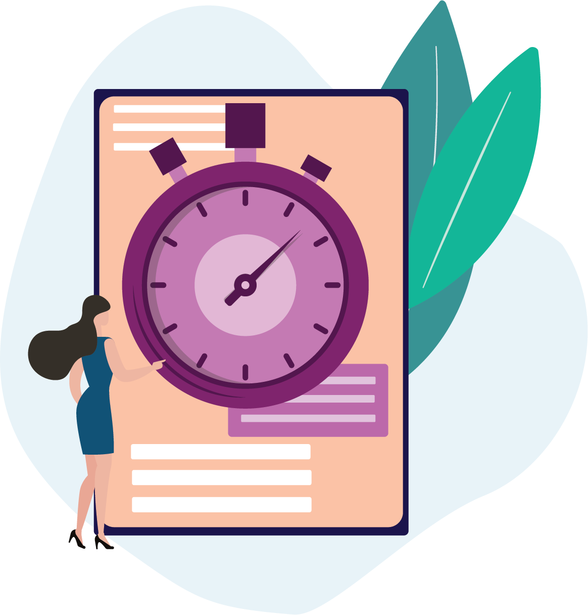 Graphic of user with stop watch, completing tasks quickly with property tax software