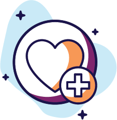 Graphic of heart and medical plus sign