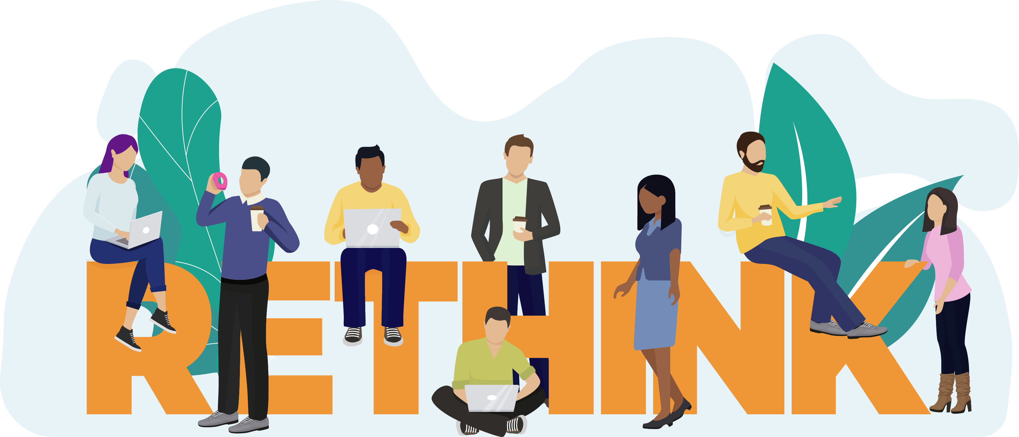 Graphic of Rethink logo with workers collaborating