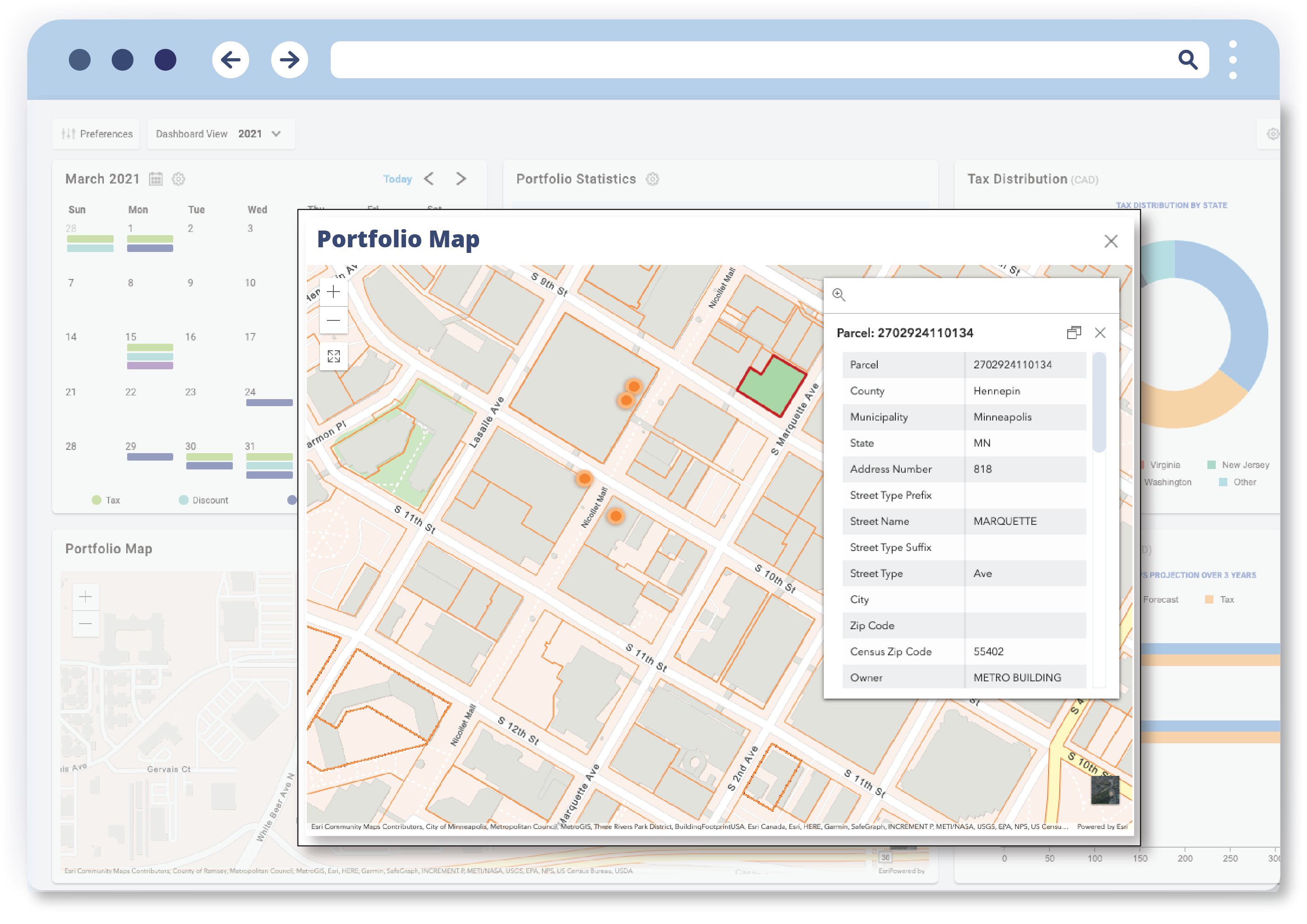 the itamlink dashboard showing a portfolio map with sales and market data on a map