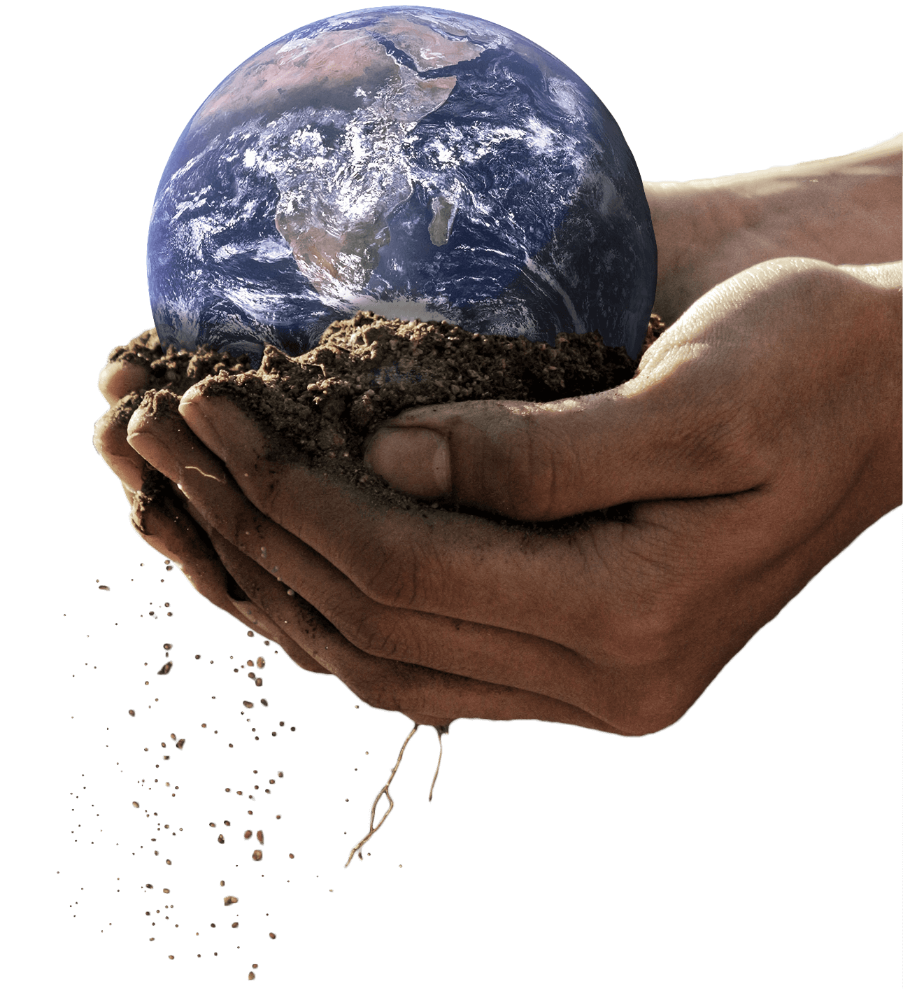 The earth being held by two hands
