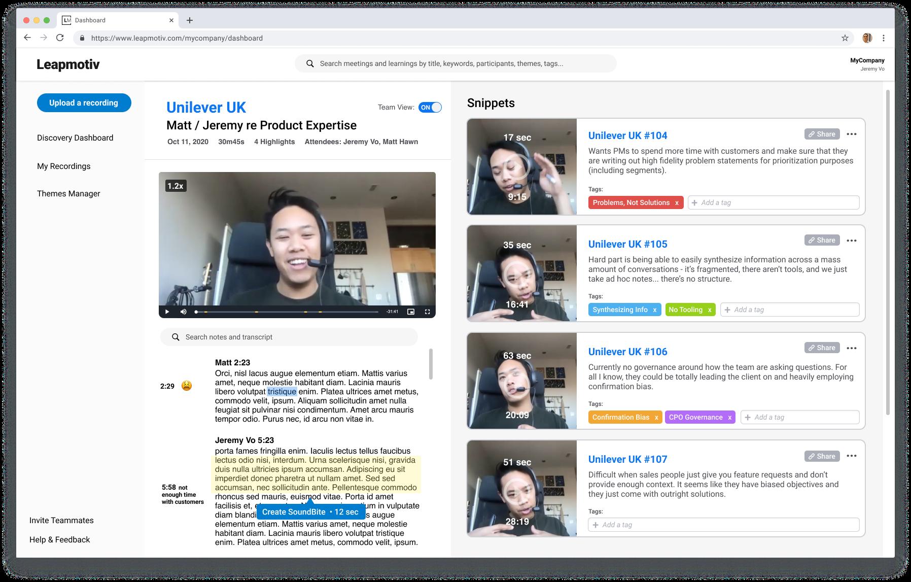 LeapMotiv Discovery Platform Screenshot