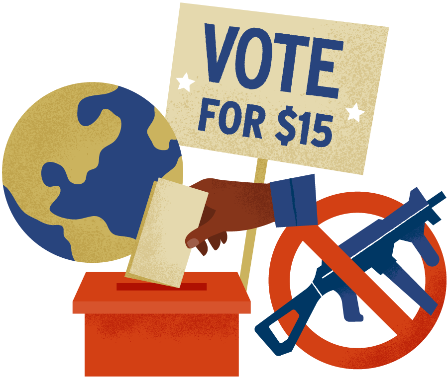 """Illustration representing how the filibuster stops progress on issues like climate change, minimum wage, gun control, and voting rights. There is a globe icon, an icon of an advocacy sign that says """"Vote for $15"""", a """"no automatic weapons"""" icon, and a ballot box icon."""