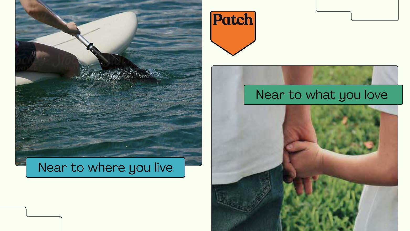 Patch logo with scenes of home life, and the caption 'near to where you live, near to what you love'.