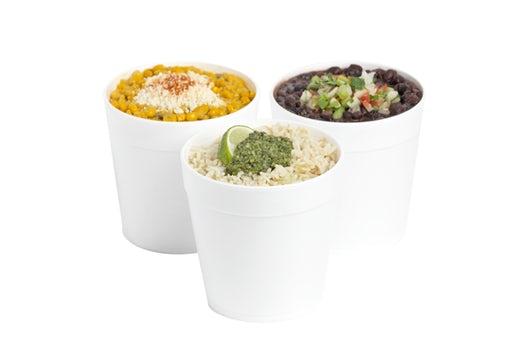 Mexican Creamed Corn, Cilantro Pesto Rice, Refried Black Beans, Queso, Rice, Seasoned Black Beans
