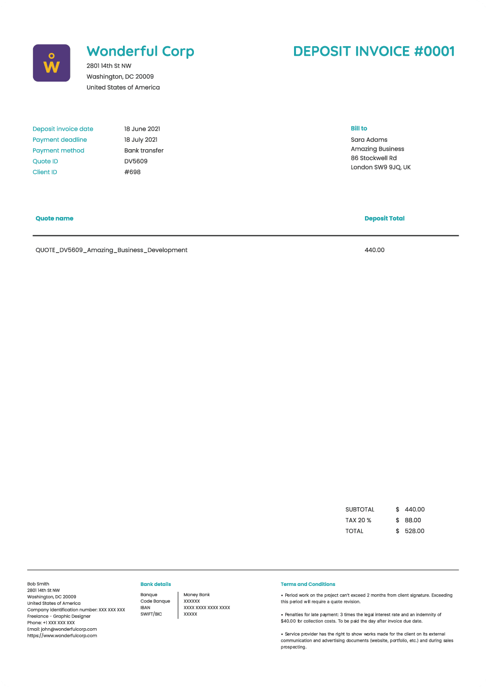 Deposit invoice preview