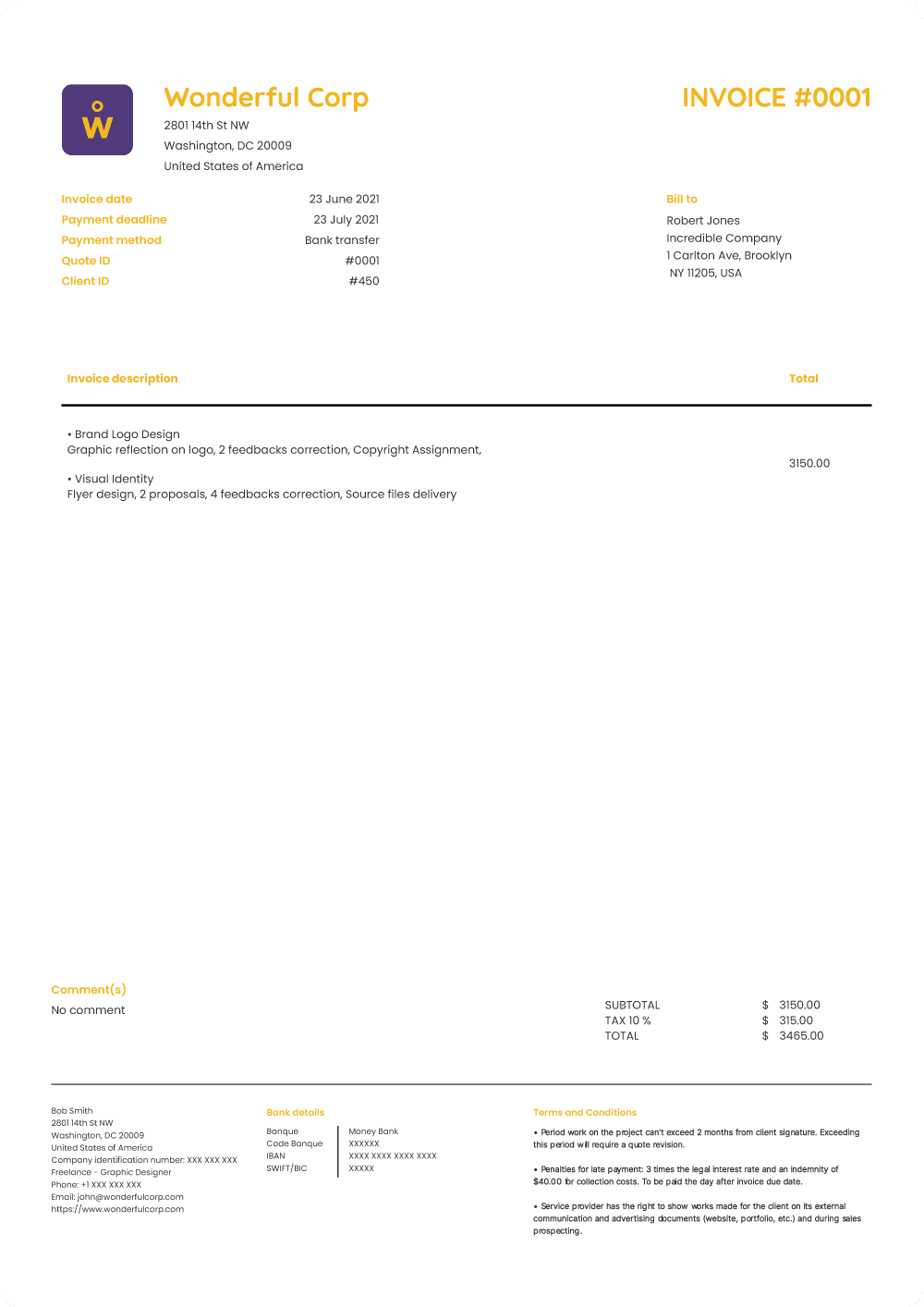 Invoice template preview
