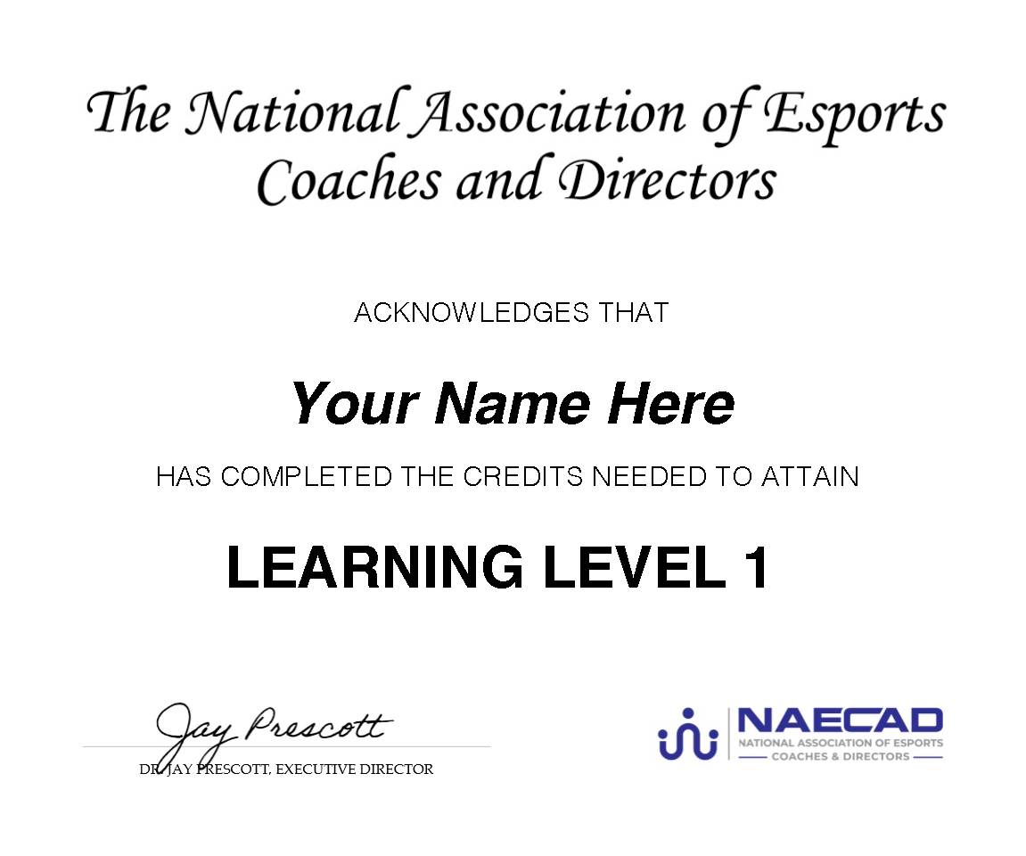 NAECAD PDP learning certificate example