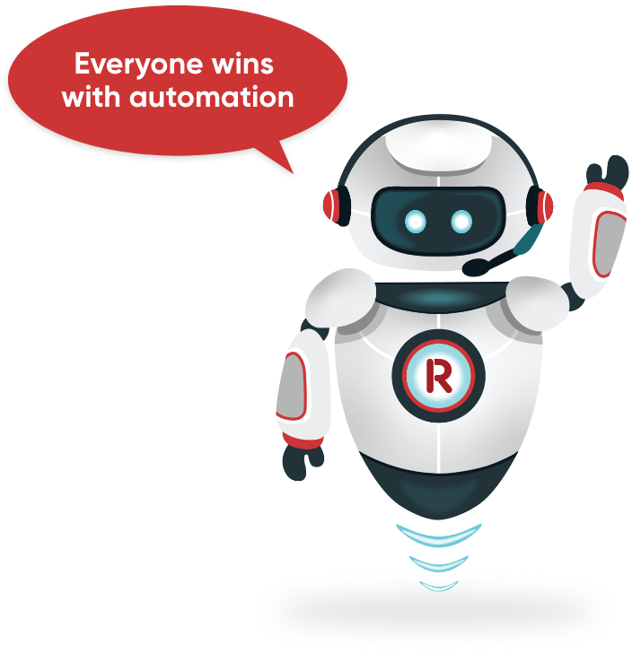 """Our robot avatar with speech bubble saying, """"Everyone wins with automation"""""""
