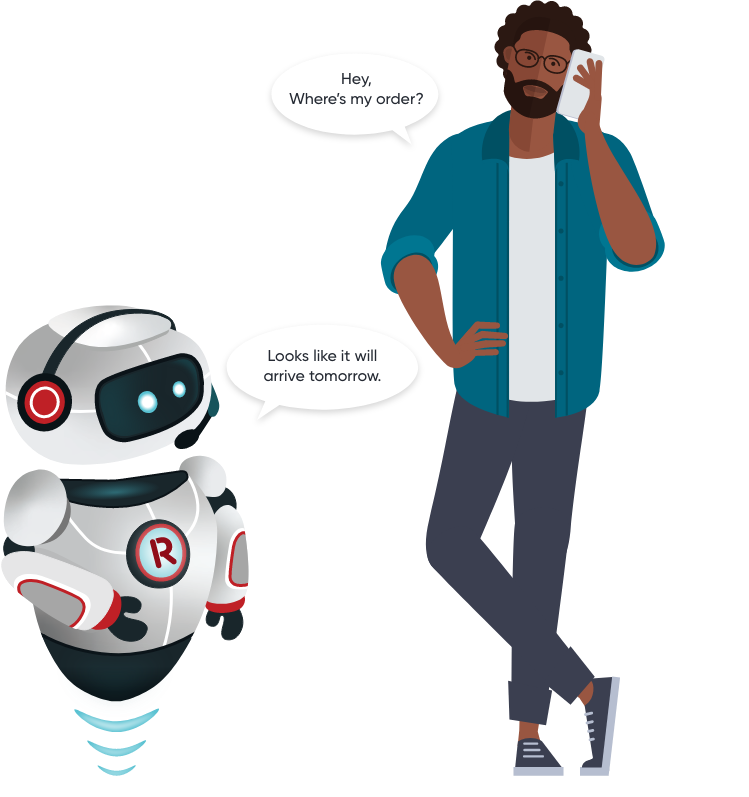 A customer chatting with our robot avatar