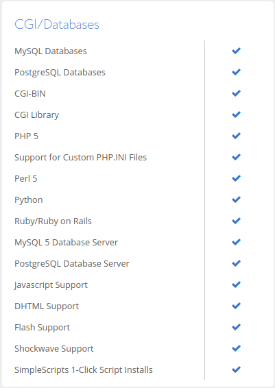 Bluehost CGI Databases Features