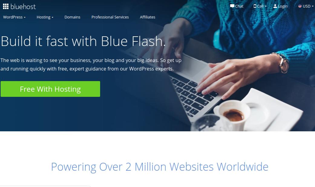 Bluehost Blue Flash