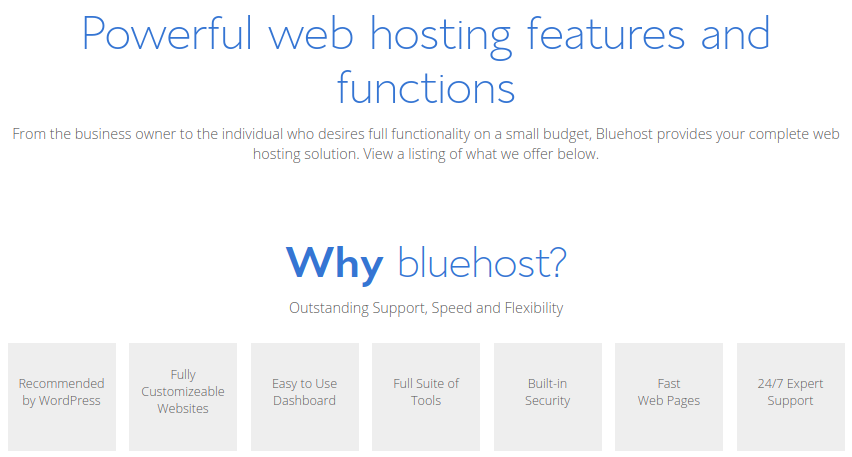 Bluehost Features and Functions