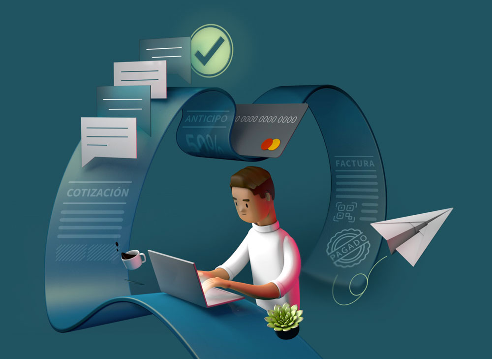 3D illustration with a guy working on his computer and a few messages behind, a credit card, and a paid invoice.