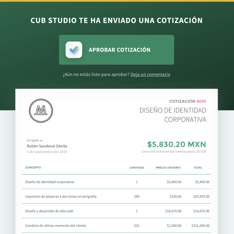 Mockup with a proposal from Buholá and the option to pay the downpayment.