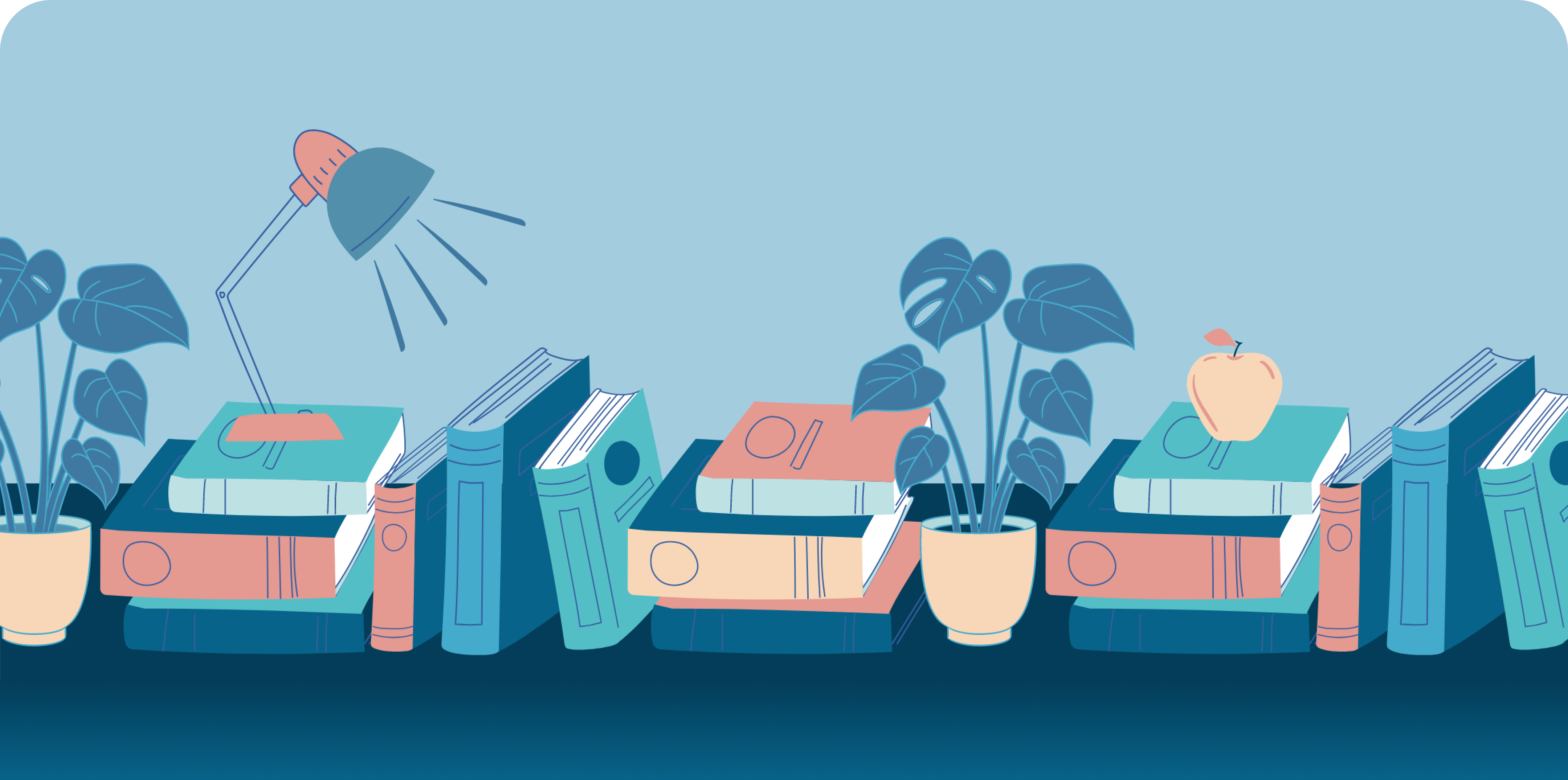 A table with books, plants, and an apple.