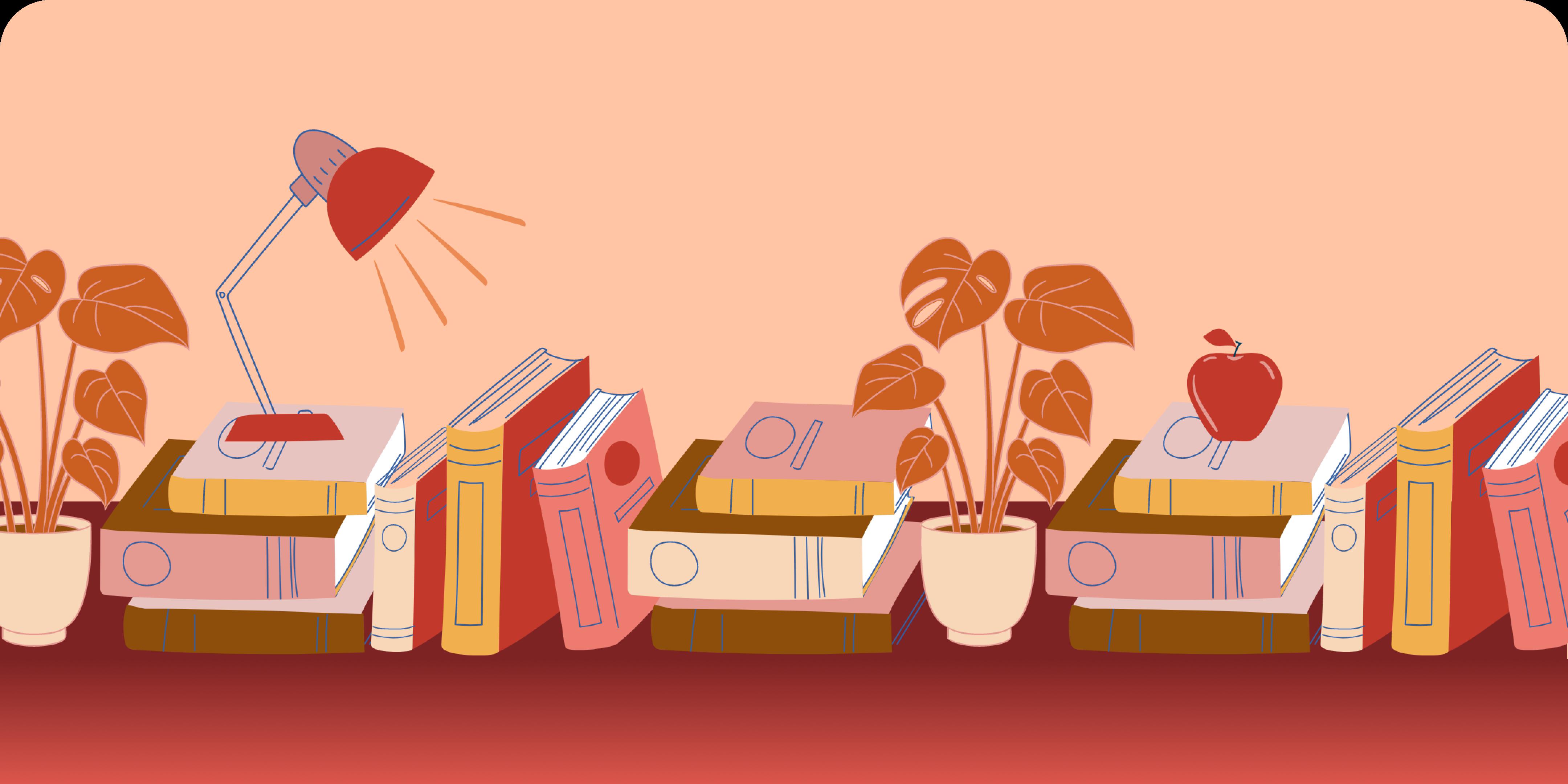 Orange plants next to piles of books