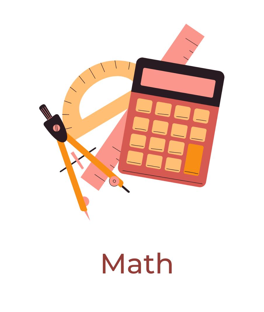 Math tools such as calculator, compass, ruler, and protractor in a bundle