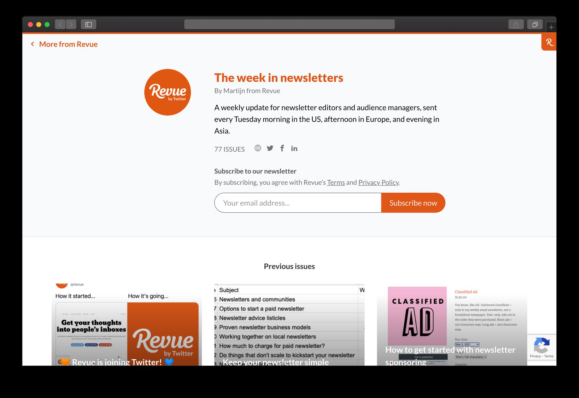 Publication Landing Page on Revue