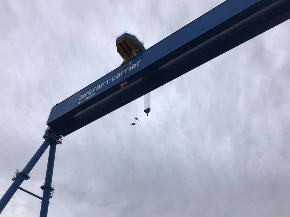 charity abseil from giant crane with inaccessible solutions