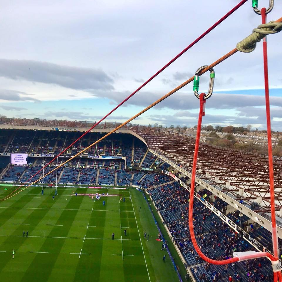 zip line over murrayfield stadium scottish rugby with inaccessible solutions