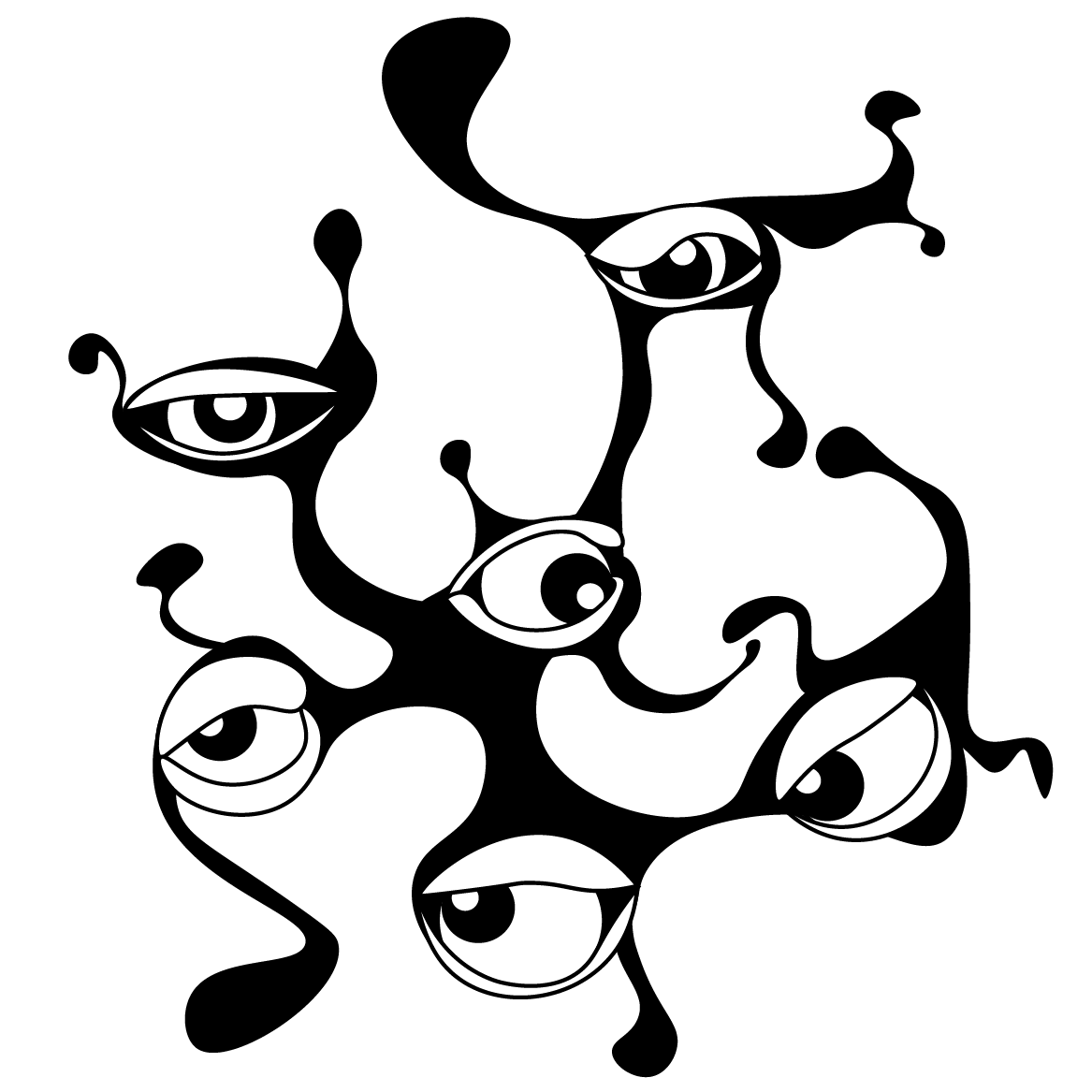 An illustration of a cluster of eyes connected by a viscous black liquid