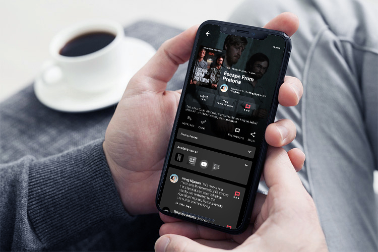 An image of the redesigned media screen for the Panel app on a phone