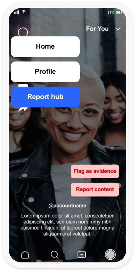 A screenshot of an app home screen , with a menu feauting the option to go to Report Hub.