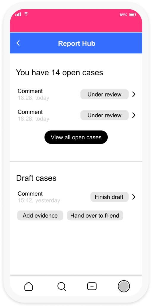 A second screenshot featuring the report hub interface which shows that the user has 14 open cases. They have the option to view all their open cases and draft new cases.