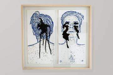 foto van tekening met verwondingen van Cees Krijnen. Tijdens expositie