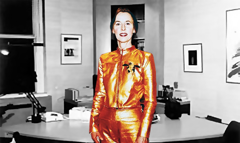 GRETA BLOK AT THE DUTCH CONSULATE NYC wearing the Golden UP&CO Battle Suit