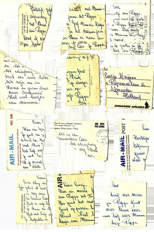 collage van verscheurde ansichtkaarten aan Cees jr. van Cees sr.