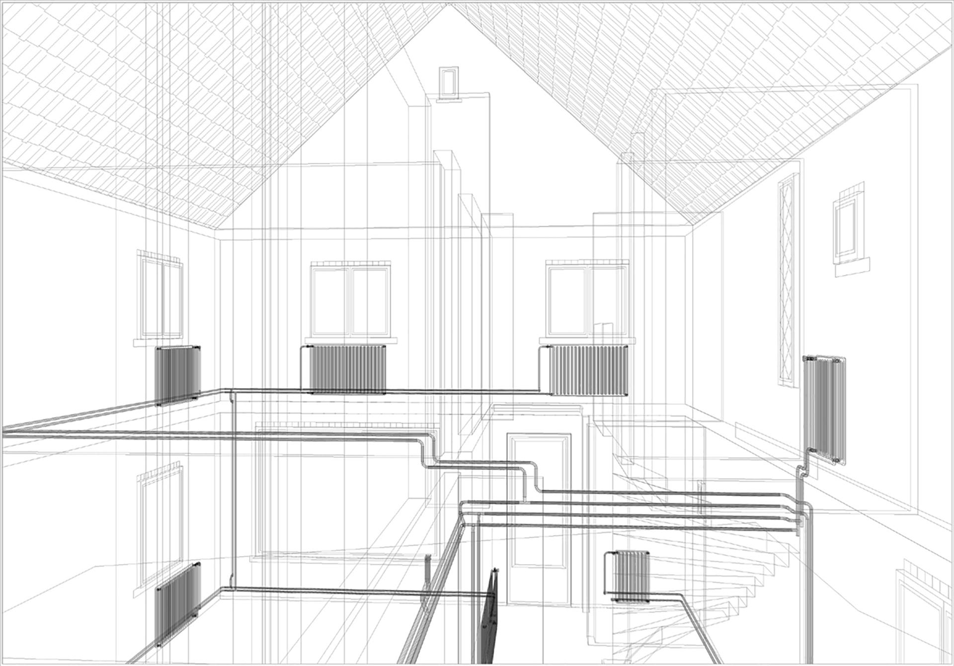 tekening van het verwarmingsbuizen systeem in het ouderlijk huis