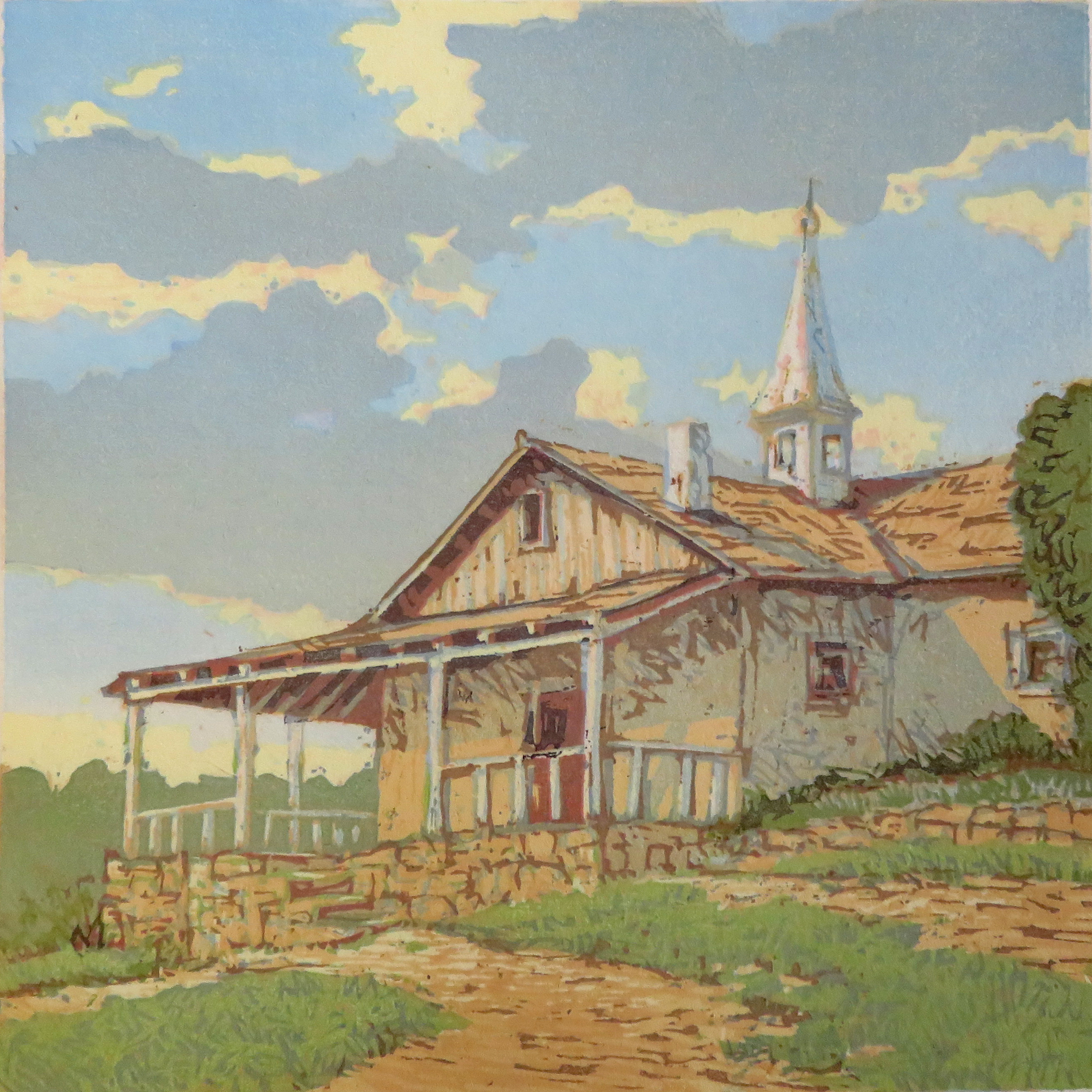 """""""Afternoon Chapel"""" woodblock by Leon Loughridge"""