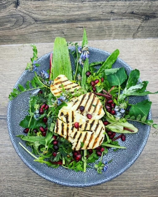 Hedgerow Salad with Griddled Halloumi and a Pomegranate Dressing