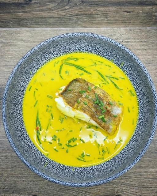 Roasted Cod Coconut Curry with Samphire & Sea Coriander