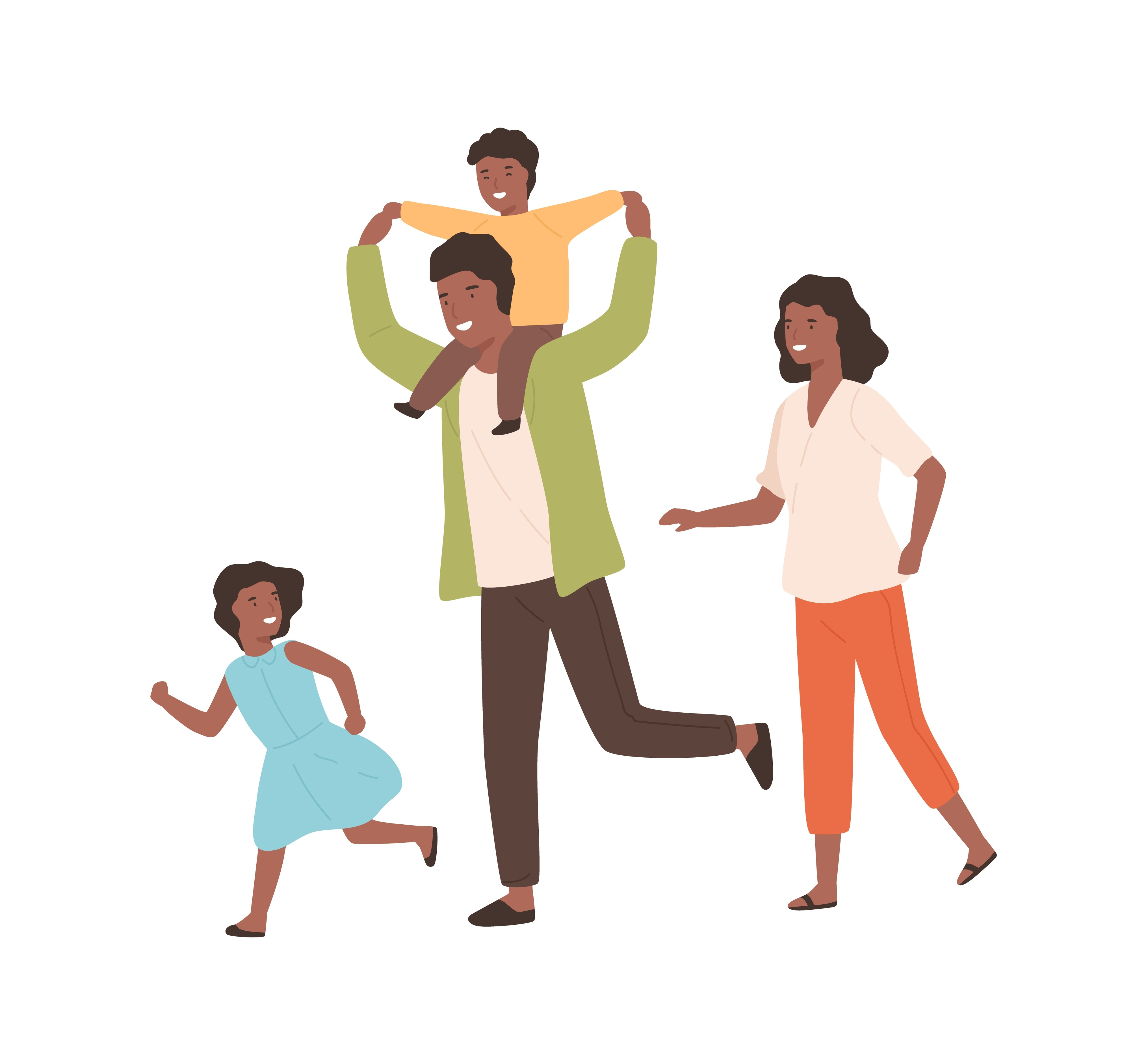 Illustration of a family smiling at each other, with one child on their father's shoulders.
