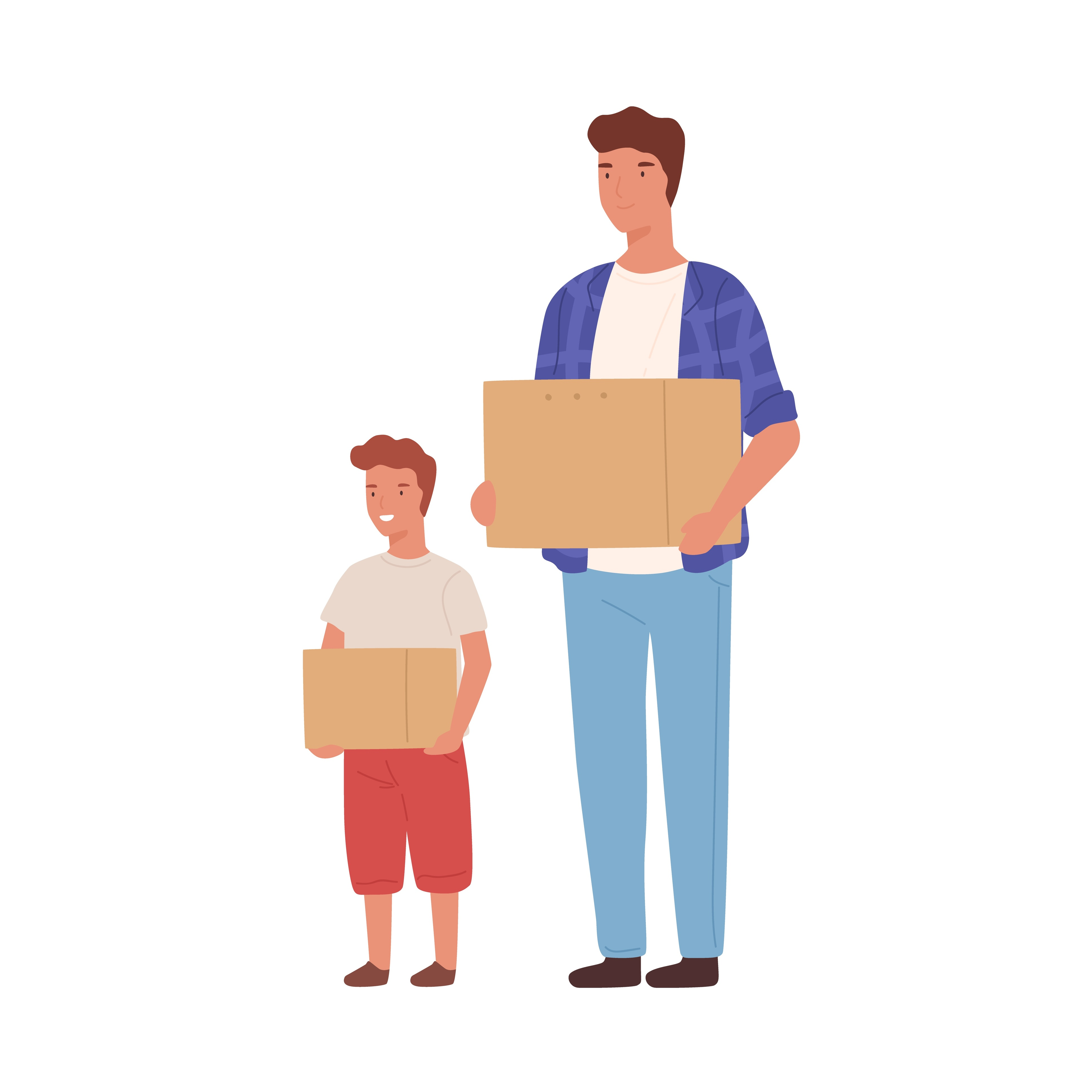 Illustration of a child and their parent both holding cardboard boxes.