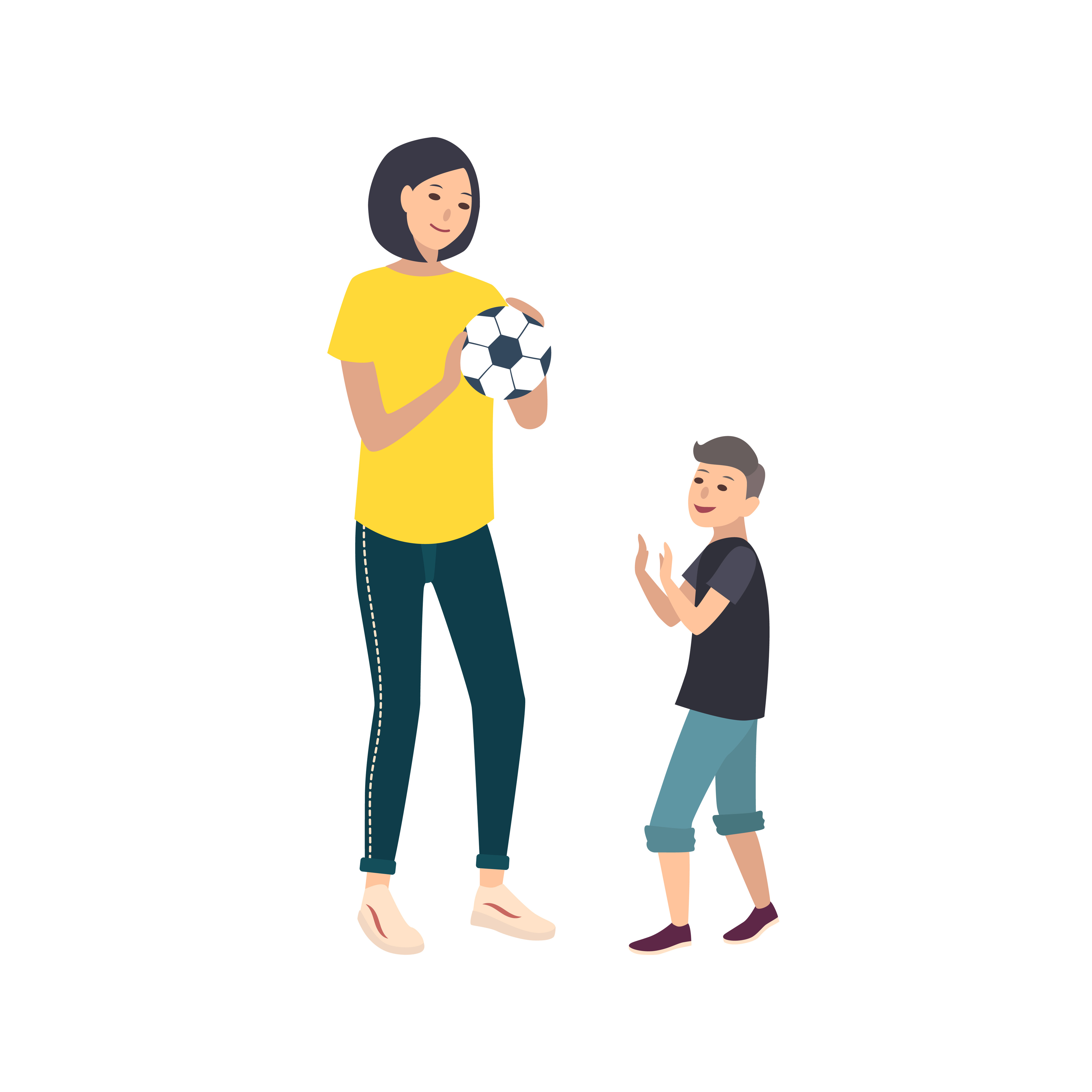 Illustration of a mother and child holding a soccer ball and smiling.