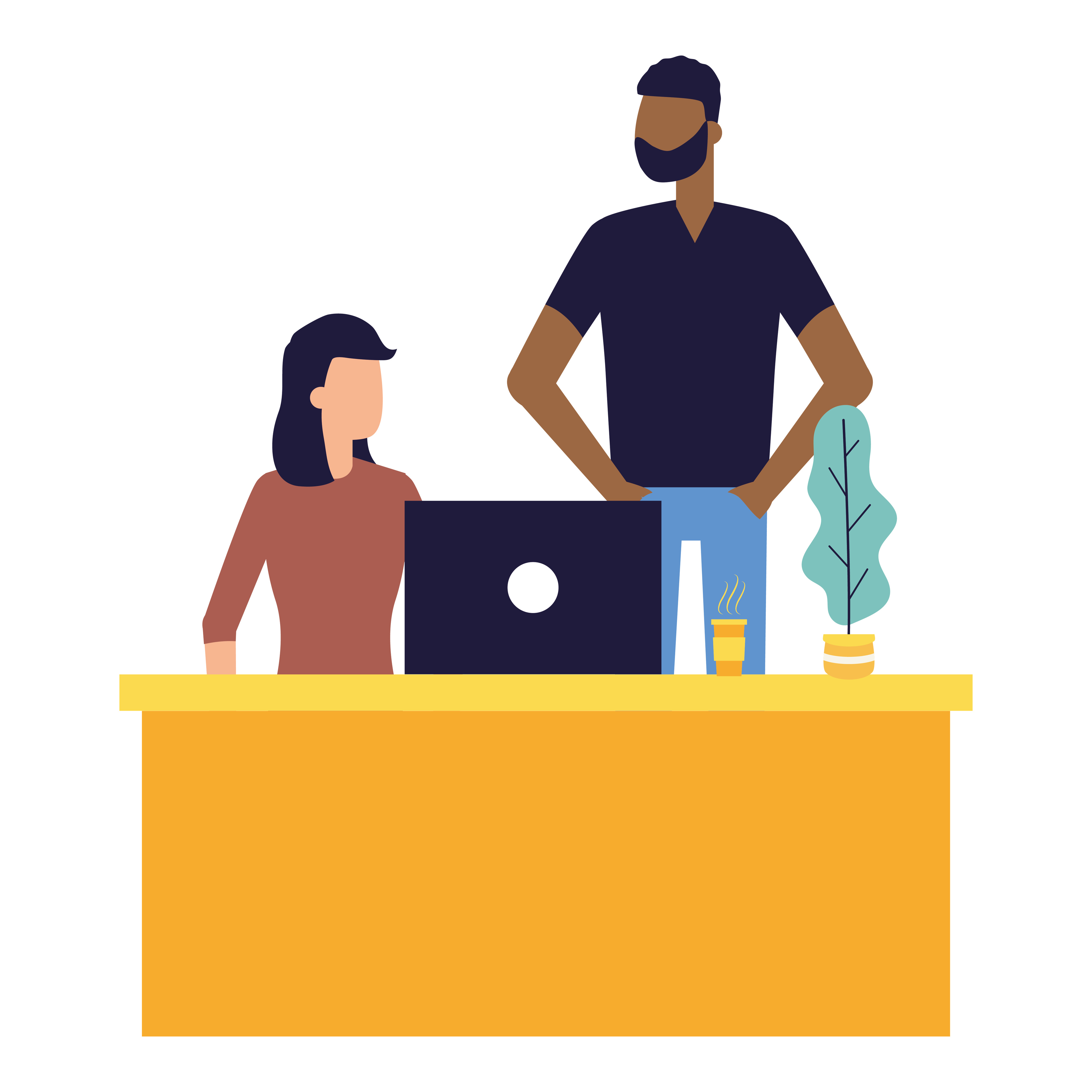 Illustration of someone sitting at a desk with a laptop and another person standing next to them.
