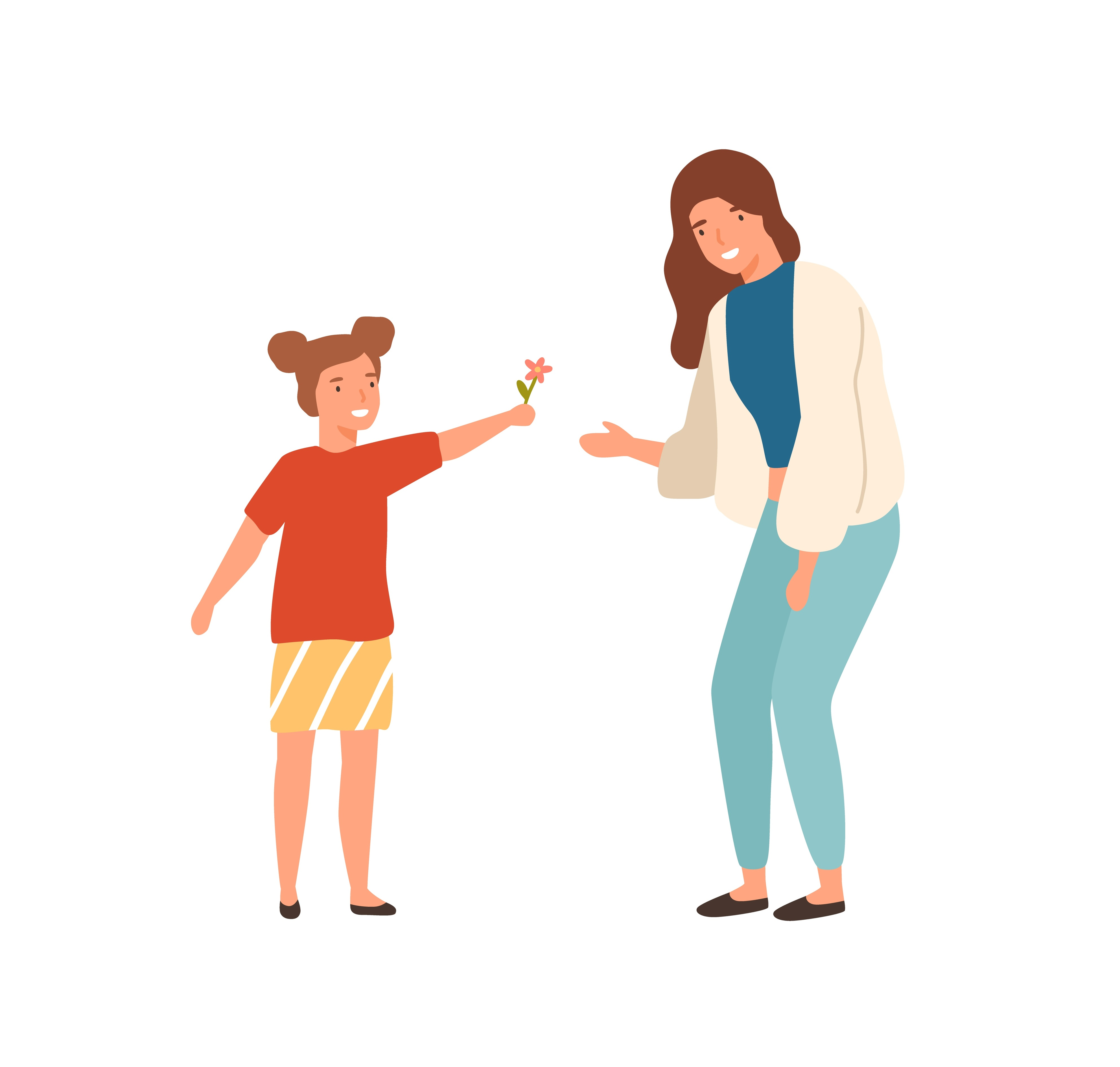 Illustration of a young child holding out a flower to their mother.